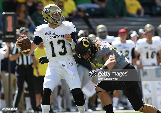 September 3, 2016 - University of Oregon DL Henry Mondeaux sacks UC Davis QB Ben Scott during an NCAA football game between the University of Oregon...