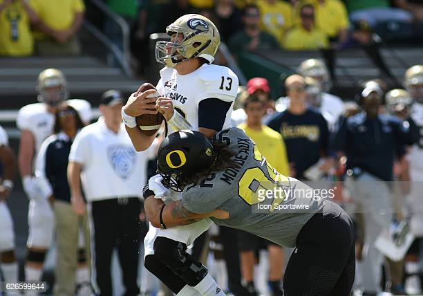 September 3, 2016 - University of Oregon DL Henry Mondeaux sacks UC Davis QB Ben Scott on the first play from scrimmage during an NCAA football game...