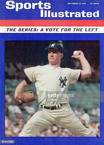 September 30 1963 Sports Illustrated Cover Baseball New York Yankees Whitey Ford in action pitching vs Boston Red Sox Bronx NY 8/28/1963