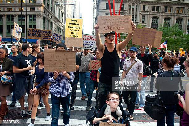 """September 30, 2011 - The """"Occupy Wall Street"""" protest movement continued to fill Zuccotti Park for a 14th day. The demonstrators are activists,..."""