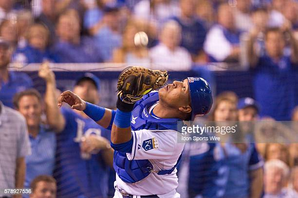 Kansas City Royals catcher Salvador Perez goes after a fly ball during the American League Wild Card Playoff game between the Oakland A's and the...