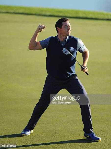 Chaska MN USA Rory McIlroy of Team Europe pumps his fist in celebration of finishing the afternoon contest by sinking his putt on the sixteenth green...