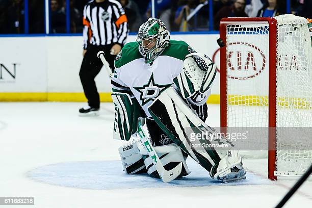 Dallas Stars goalie Kari Lehtonen has a shot from St Louis Blues defenseman Jordan Schmaltz go over his shoulder for a goal during the second period...