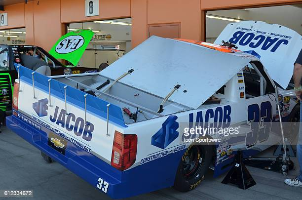 No 33 Jacob Companies sponsored Chevrolet truck driven by Chase contender Ben Kennedy GMS Racing in garage during the NASCAR Camping World Truck...