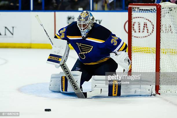 St Louis Blues goalie Jake Allen gets set to make a save during the first period of a NHL hockey game between the Dallas Stars and the St Louis Blues...