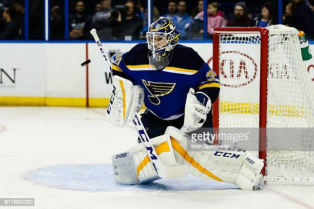 St Louis Blues goalie Pheonix Copley gets set on a high shot during the third period of a NHL hockey game between the Dallas Stars and the St Louis...