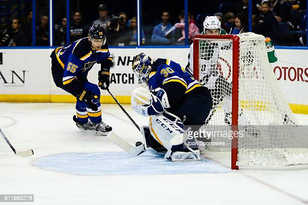 St Louis Blues goalie Pheonix Copley makes a save during the third period of a NHL hockey game between the Dallas Stars and the St Louis Blues The...