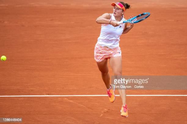 September 30. Irina-Camelia Begu of Romania in action against Simona Halep of Romania in the second round of the Women's Singles competition on Court...