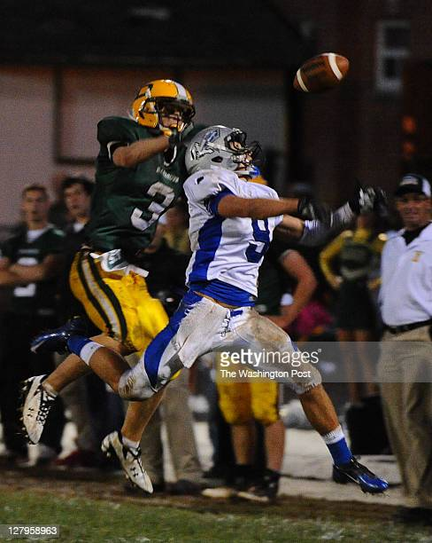 Sherwood DB Rich Dipietro II knocks a pass away intended for Damascus WR Zach Bradshaw during 3rd quarter action on September 30 2011 in Damascus Md