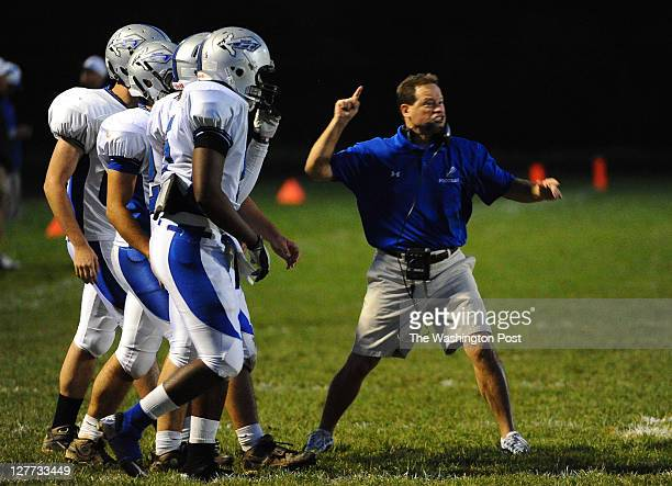 Sherwood Head Coach Mike Bonavia gets after his squad during action against Damascus on September 30 2011 in Damascus Md
