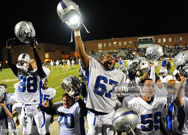 Sherwood lineman Isaac Chase and his team cheer toward their fans after their 143 win over Damascus on September 30 2011 in Damascus Md