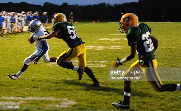 Sherwood QB Jordan Larsen caught his batted pass and ran it in for a touchdown during Sherwood's 143 win on September 30 2011 in Damascus Md