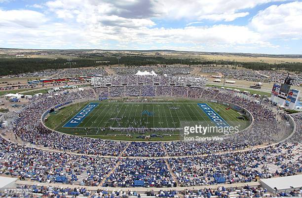 General Stadium View The Air Force Falcons would win 65 to 21 over the Northwestern State Demons at the Air Force Academy Stadium in Colorado Springs...