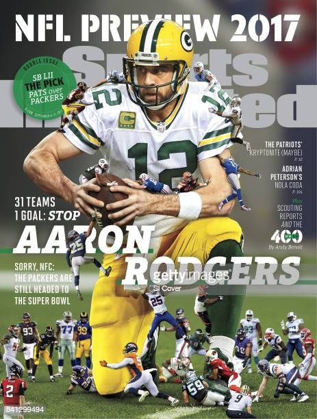 September 4 2017 September 11 2017 Sports Illustrated via Getty Images Cover NFL Season Preview Composite photo of Green Bay Packers QB Aaron Rodgers...
