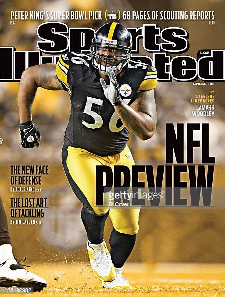 September 5 2011 Sports Illustrated Cover Pittsburgh Steelers LaMarr Woodley in action running around lineman while on defense vs Atlanta Falcons...