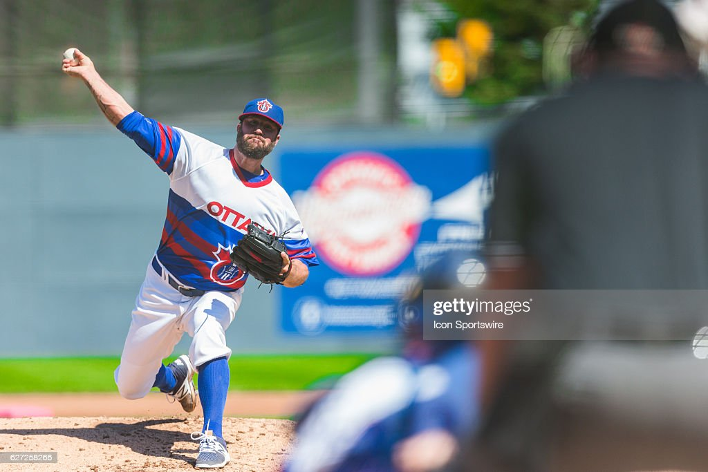 Eric Gagne former Los Angeles Dodgers pitcher and Cy Young Award winner, pitching for the Ottawa Champions during CAN-AM League action between the QuÈbec Capitales and Ottawa Champions at Raymond Chabot Grant Thornton Park in Ottawa, ON, Canada.