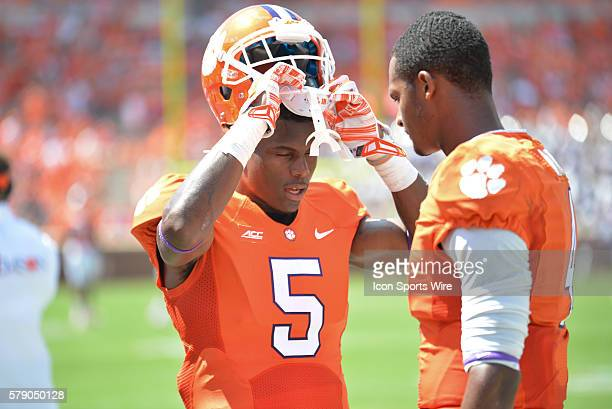 Clemson wide receiver Germone Hopper and Clemson quarterback Deshaun Watson talk prior to 2nd half action between the Clemson Tigers and South...