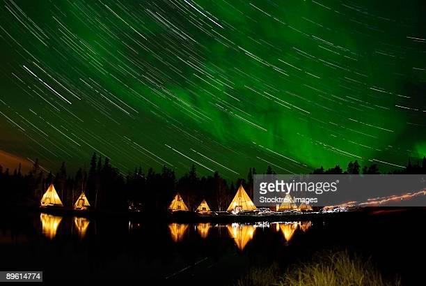 September 7, 2008 - Aurora and Star Trails, Aurora Lake, Yellowknife, Northwest Territories, Canada.