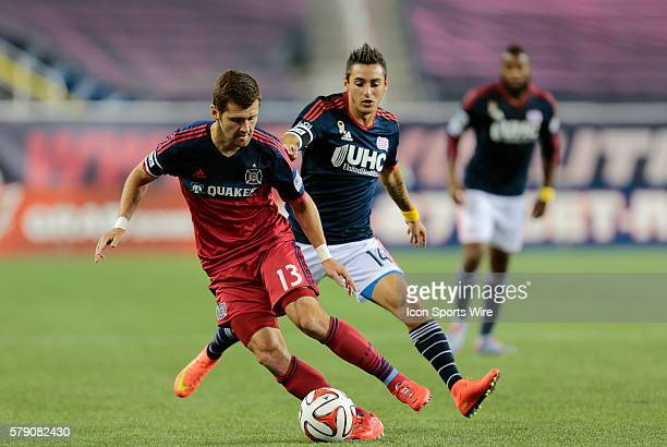 Chicago Fire's Gonzalo Segares cuts away from New England Revolution's Diego Fagundez The New England Revolution defeated the Chicago Fire 21 in a...