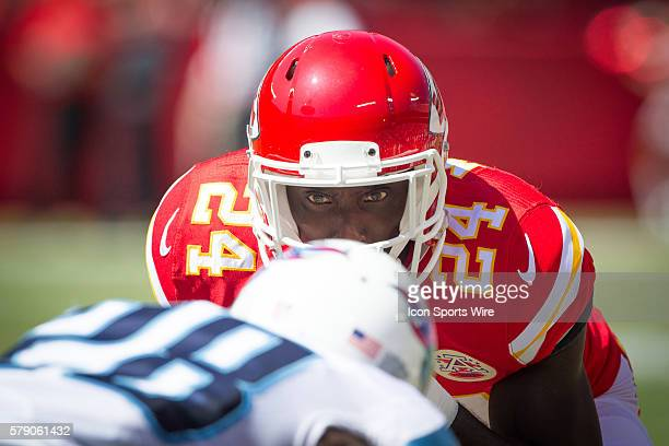 Kansas City Chiefs defensive back Kelcie McCray stares at his opponent on the line during the NFL game between the Tennessee Titans and the Kansas...