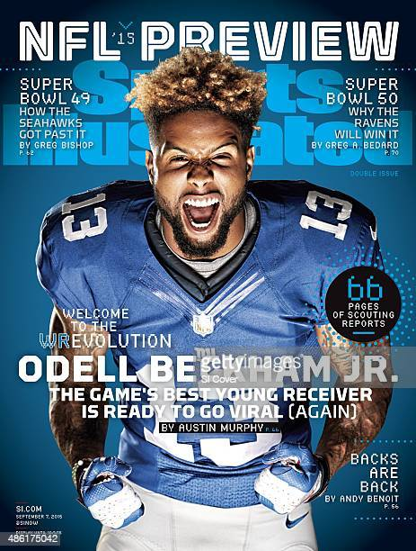 September 7 2015 Sports Illustrated Cover NFL Season Preview Portrait of New York Giants wide receiver Odell Beckham during photo shoot at Quest...