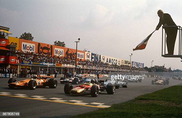 September 7th 1969 Italian GP Monza Denny Hulme and Jochen Rindt head pack