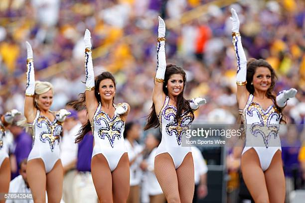 The LSU Golden Girls perform prior to kickoff between the LSU Tigers and the Washington Huskies at Tiger Stadium in Baton Rouge LA