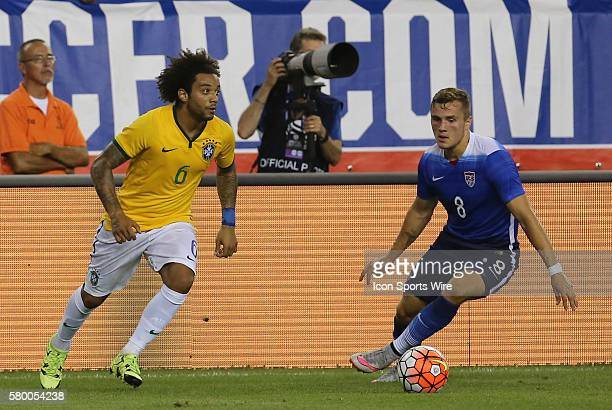 Brazil midfielder Marcelo looks to push the ball past United States forward Jordan Morris Brazil defeated the United States 41 in an international...