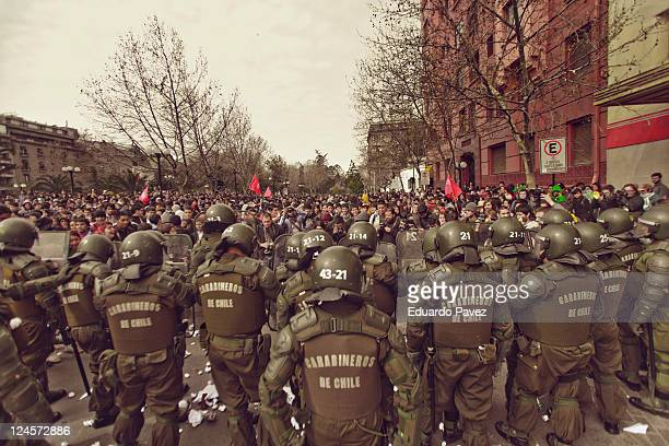 September 8th thousands of students gather to protest against the educational system in Chile the police prevents them from marching on the main...