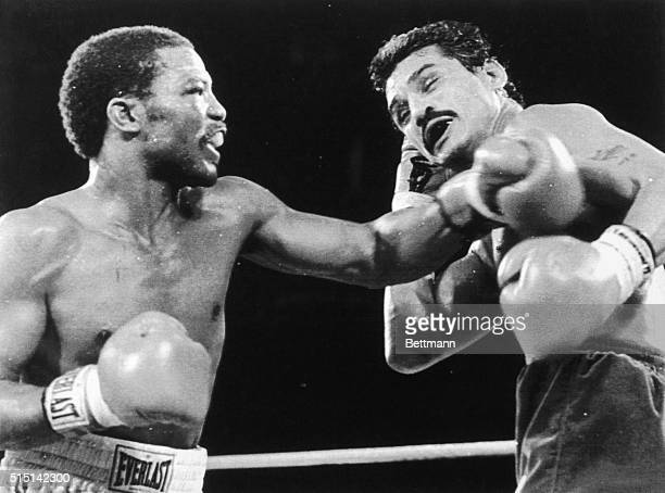 September 9, 1983-Las Vegas, Nevada: Aaron Pryor lands a left on Alexis Arguello in the fourth round of their WBA Junior Welterweight title fight at...