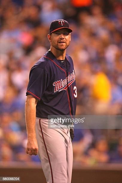 Minnesota Twins pitcher Mike Pelfrey [6139] leaves the field during a game against the Kansas City Royals at Kauffman Stadium in Kansas City MO