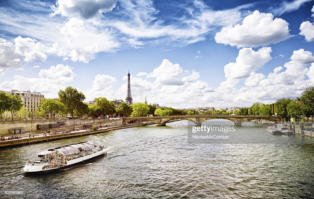 September afternoon in Paris by the Seine : Stock Photo