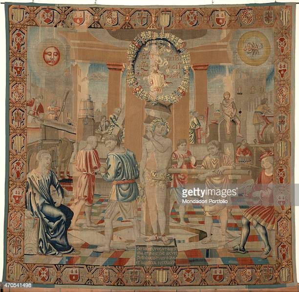 'September by Benedetto da Milano upon drawing by Bramantino c 15031508 16th Century tapestry Italy Lombardy Milan Sforza Castle Whole artwork view...