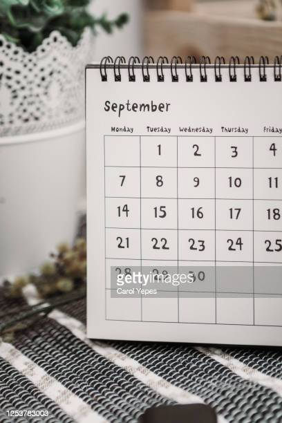 september calendar in female desk - 2020 stock pictures, royalty-free photos & images