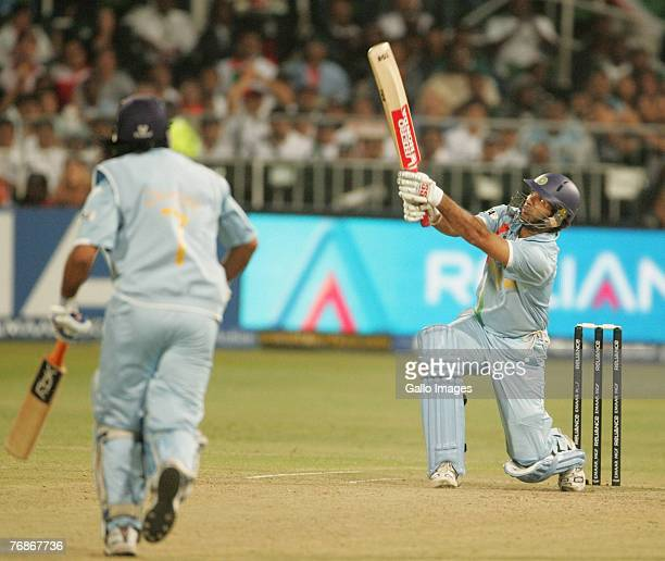 Six no 5 India's Yuvraj Singh hits six sixes off Stuart Broad of England in one over for his 58 runs off 16 balls during the ICC Twenty20 Cricket...