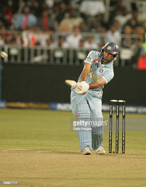 Yuvraj Singh of India hits six sixes off Stuart Broad of England in one over for his 58 runs off 16 balls during the ICC Twenty20 Cricket World...