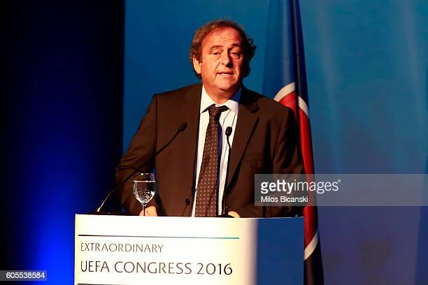 Former UEFA President Michel Platini delivers his speech during UEFA elections at 12th Extraordinary UEFA Congress in Athens Greece 14 September 2016...