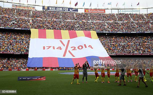 September-BARCELONA SPAIN: flag for the 300 aniversari of Catalonia rendition in the match between FC Barcelona and Athletic Club Bilbao, for Week 3...