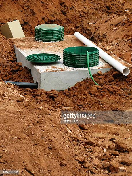 septic tank system - septic tank stock photos and pictures