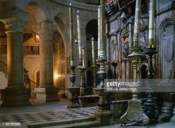 Sepulcher of Christ and two columns, Aedicula of the Holy Sepulcher, Church of the Holy Sepulcher , Jerusalem, Israel, 4th-19th century.