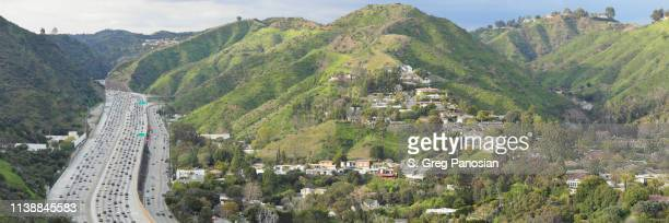 sepulveda pass - interstate 405 - los angeles - highway 405 stock photos and pictures