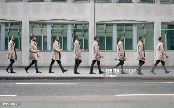 sequence of a casual business man walking on the streets of london - continuity stock pictures, royalty-free photos & images
