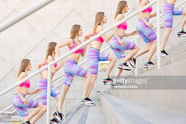 sequence of a women runner training on the stairs - sequential series stock pictures, royalty-free photos & images