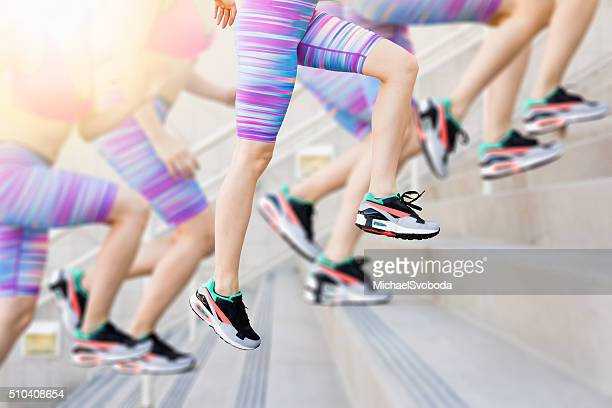 Sequence of a Women Runner Training On The Stairs