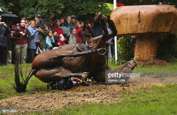 Sequence of Anna Warnecke of Germany as she takes a huge fall at the 25th jump as her horse Twinkle Bee lands on her during the cross country event...