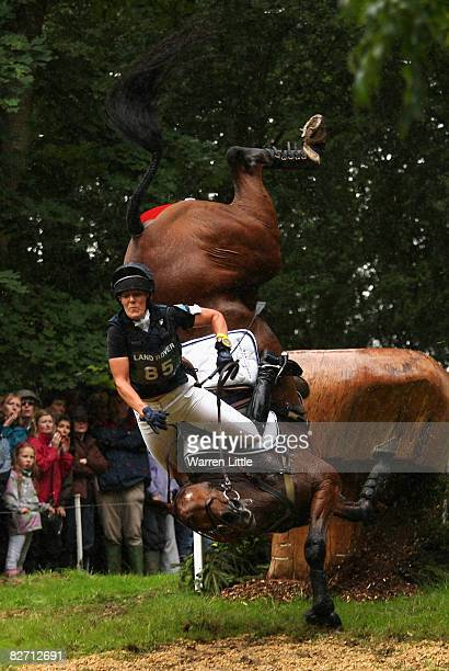 A sequence of Anna Warnecke of Germany as she takes a huge fall at the 25th jump as her horse Twinkle Bee lands on her during the cross country event...