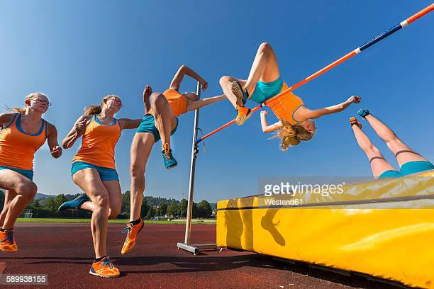 sequence of high jumper crossing bar - high jump stock pictures, royalty-free photos & images