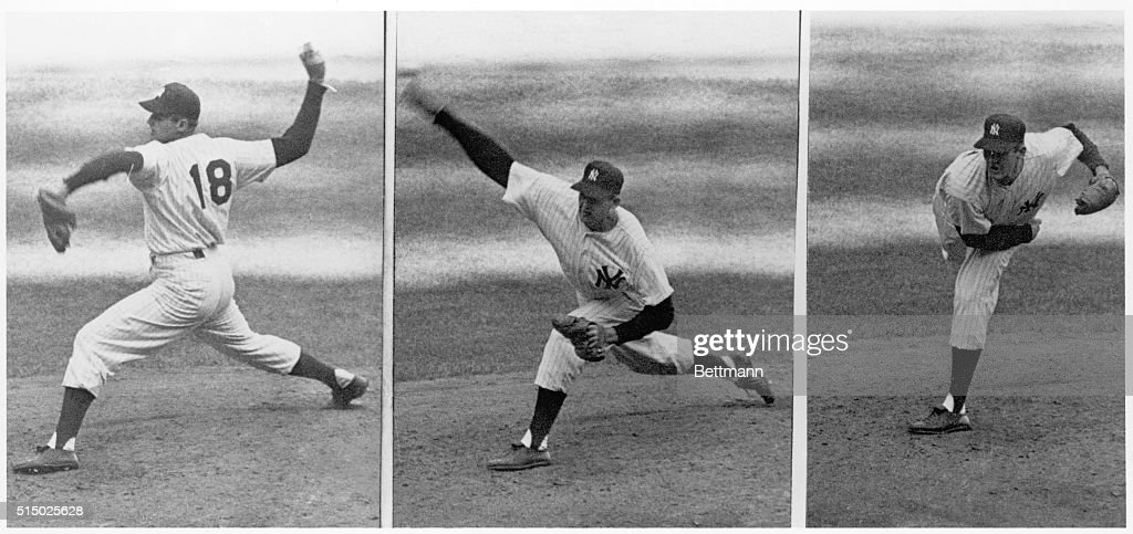 Sequence of photographs of New York Yankees pitcher Don Larsen pitching against the Brooklyn Dodgers during the 5th game of the 1956 World Series. During this game Larsen became the first pitcher to pitch a perfect World Series game.