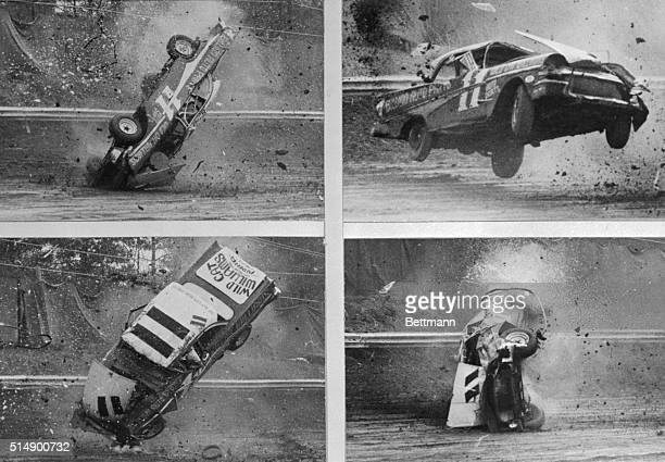 Sequence of photos shows crash of stock car driven by Don Bitner of Chicago in the 100mile stock car race at Lakewood Park March 27th The car spun...