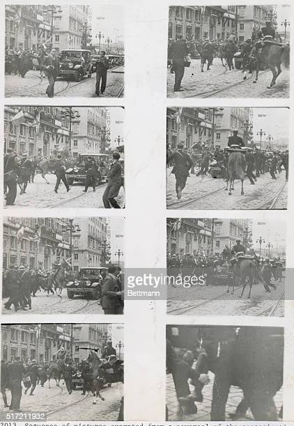 Sequence of pictures excerpted from a newsreel of the assassination of King Alexander I of Yugoslavia on October 9 1934 in Marseilles